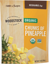 Fresh, sweet pineapple conveniently chunked and grown without artificial chemicals. product image.