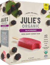 Julie's Organic Sorbet made with fresh, ripe, luscious organic fruit is a mouth-watering treat. product image.