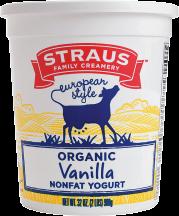 Organic Non Fat Yogurt; Vanilla product image.