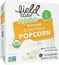 Organic 100 Calorie Butter Flavor Popcorn Mini Pack product image.