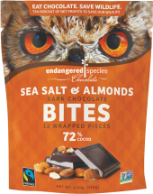 Endangered Species Chocolate Dark Chocolate Squares With Sea Salt and Almonds 4.20 OZ product image.