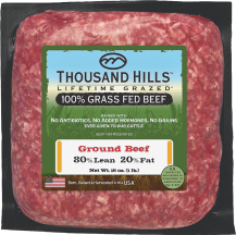 Thousand Hills 100% Grass Fed 80/20 Ground Beef 16 OZ reg. $8.99 product image.
