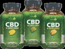 CBD+ Sunny Mood, CBD+ Stress-Defy, CBD+ Brain Awake product image.